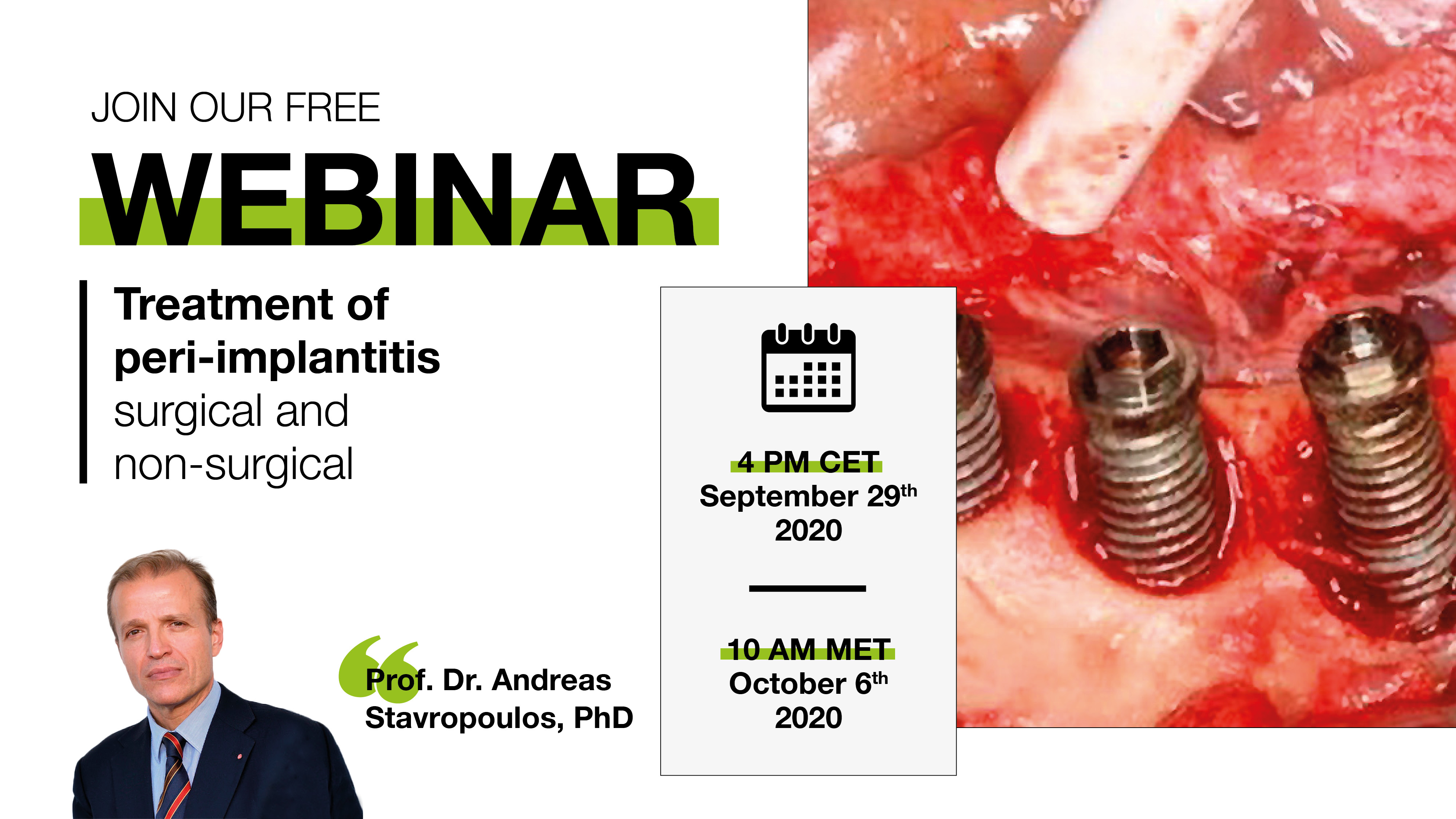 """Treatment of peri-implantitis surgical and non-surgical"" by Prof. Dr. Andreas Stavropoulos, PhD"