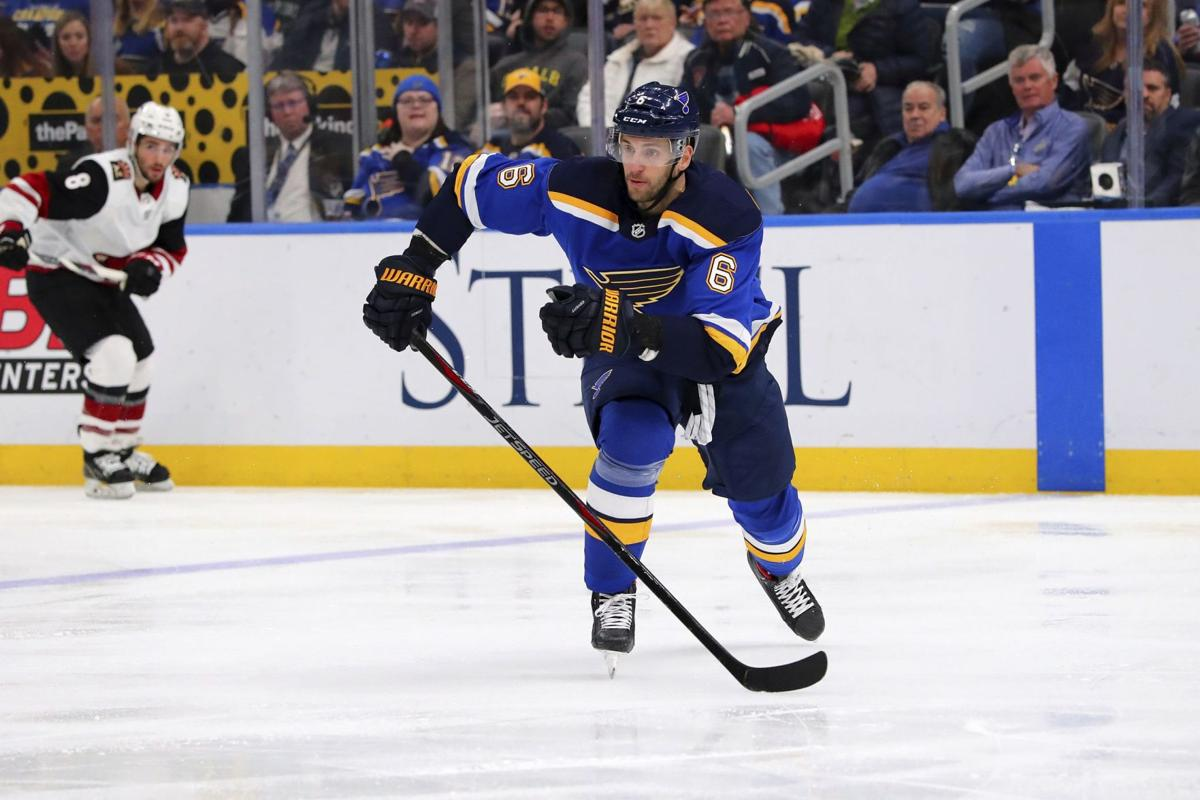 NHL player Marco Scandella playing hockey for the St. Louis Blues