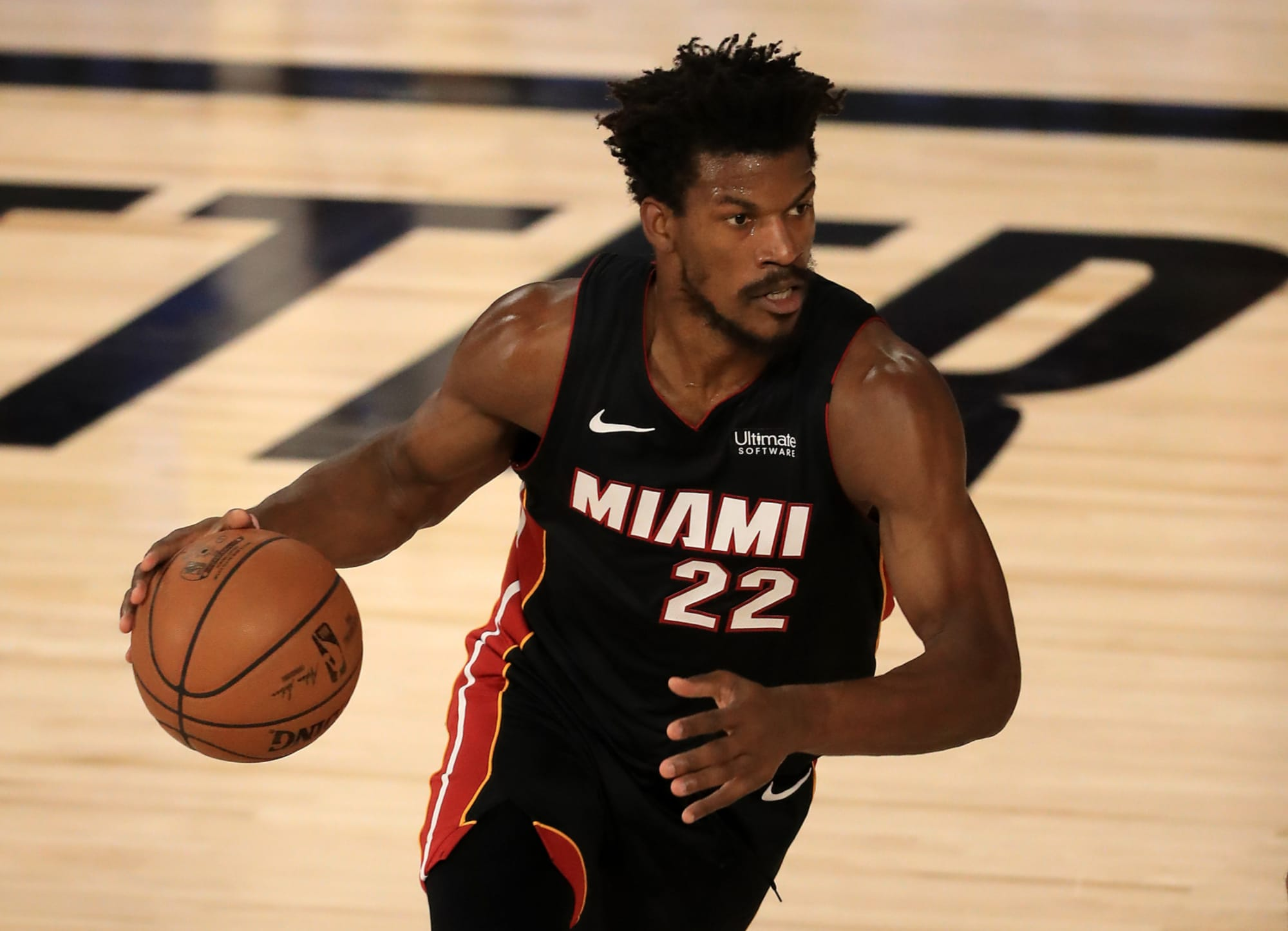 NBA star Jimmy Butler of the Miami Heat playing basketball