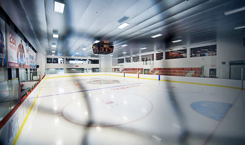 Overhead view of the Hockey Etcetera ice surface