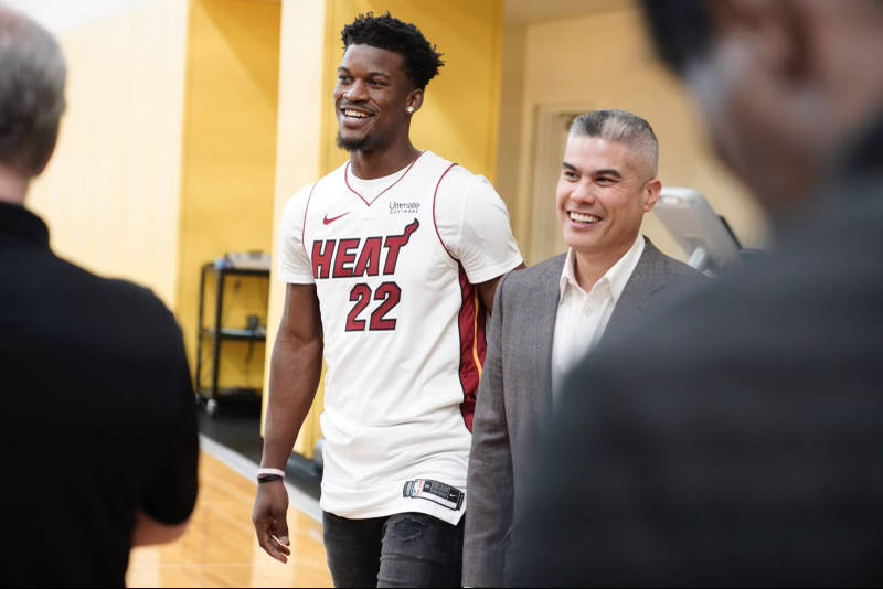 Jimmy Butler and Bernie Lee smiling together
