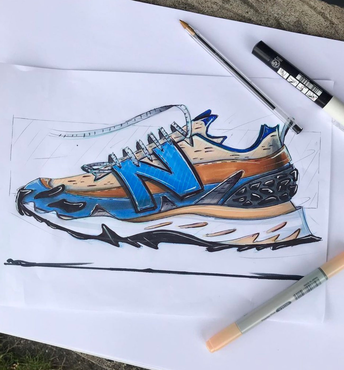 A mock-up of a New Balance sneaker
