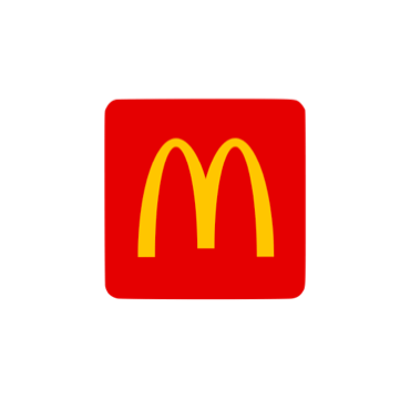 """The Mcdonald's logo. A large yellow """"M"""" is printed over a red square."""