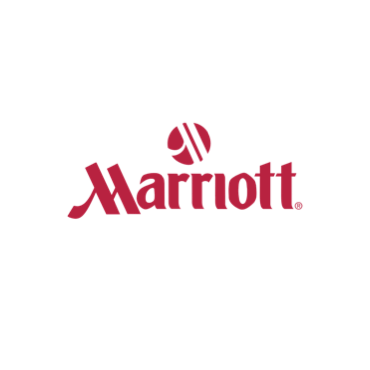 """""""Marriott"""" is printed in red under a circular shape with white strokes running through it."""