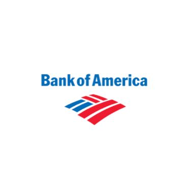 """""""Bank of America"""" is printed in blue above multiple red and blue lines working to make a distorted diamond shape."""