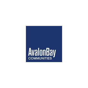 """""""AvalonBay Communities"""" is printed in white in the left corner of a dark blue square."""