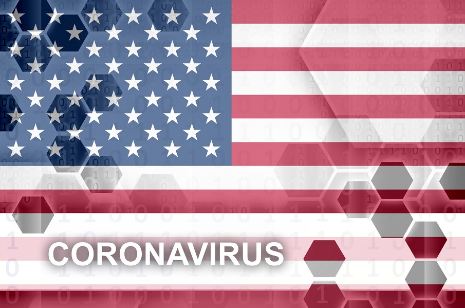 Amerikaanse vlag met coronavirus erop geprojecteerd