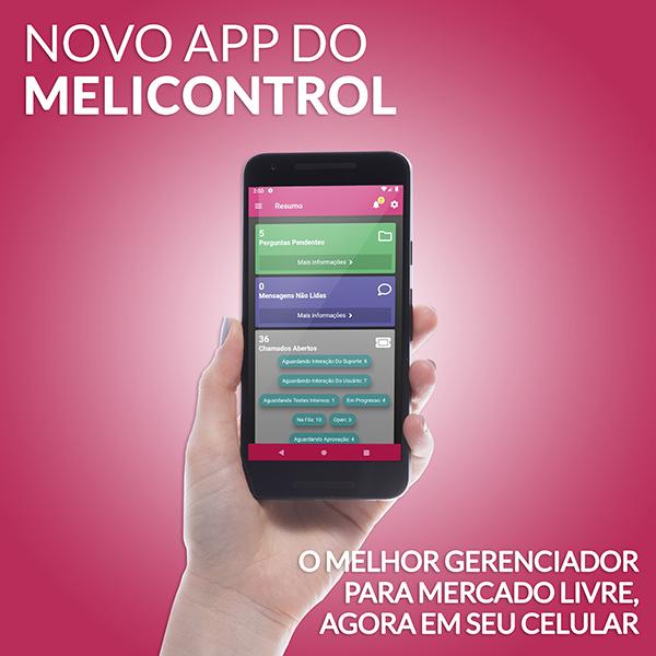 Celular com tela do app do MeliControl