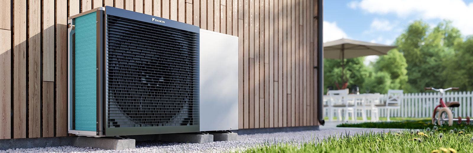 Daikin heat pump outdoors
