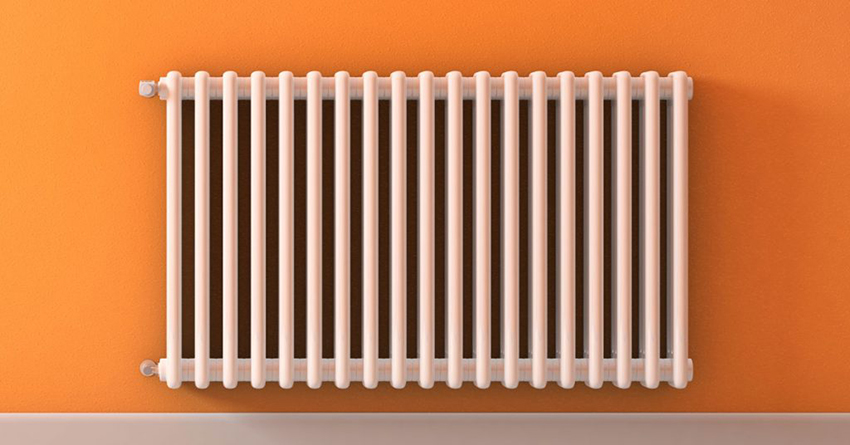 radiator on orange wall