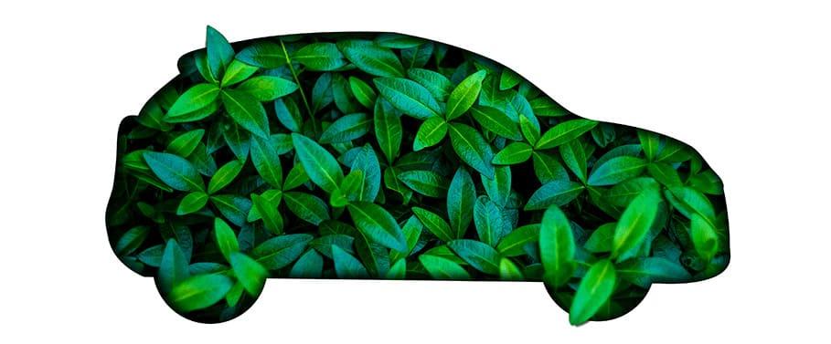 auto getekend door groene blaadjes