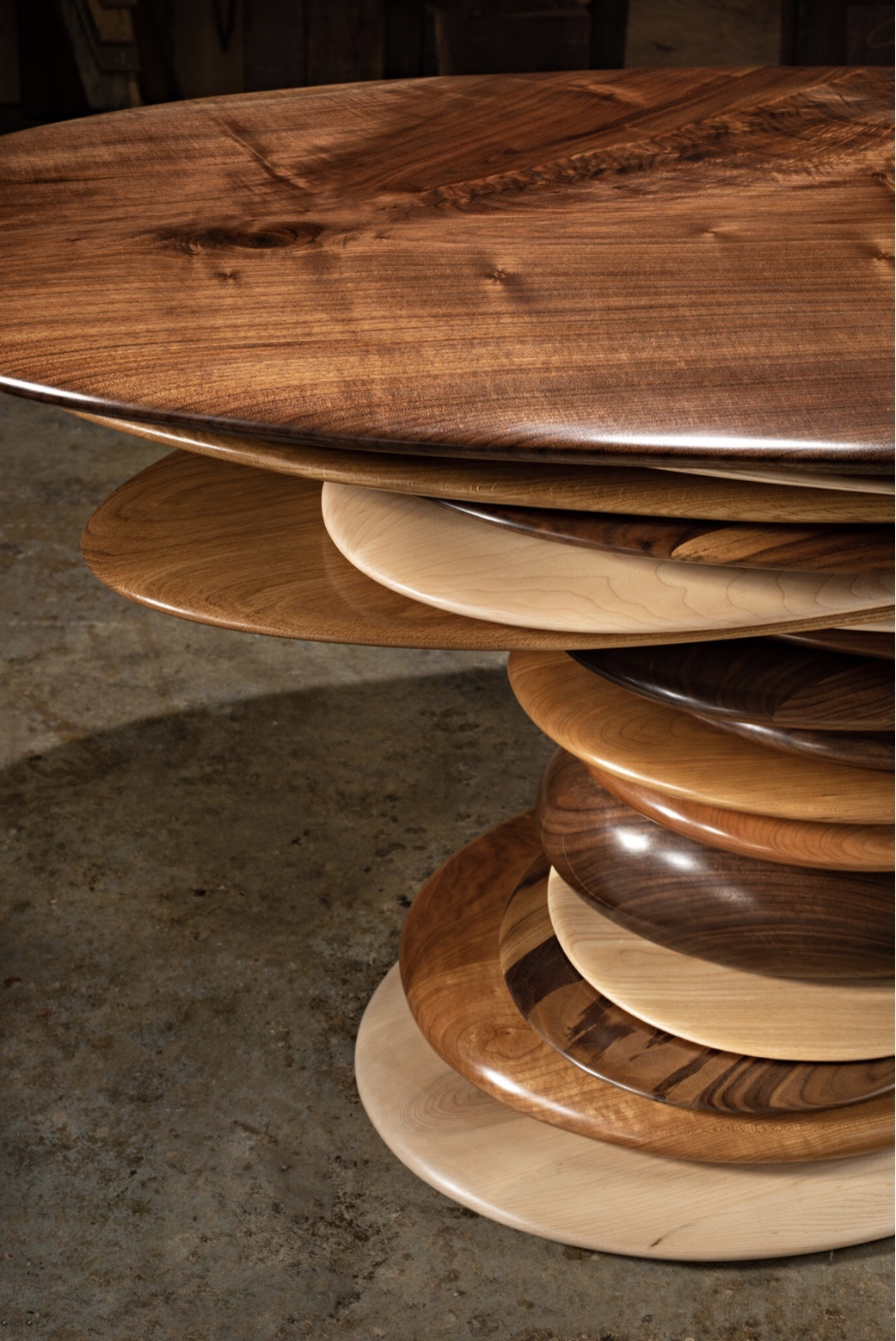 Detail of the kipping Stone Game Table by artist Christopher Kurtz