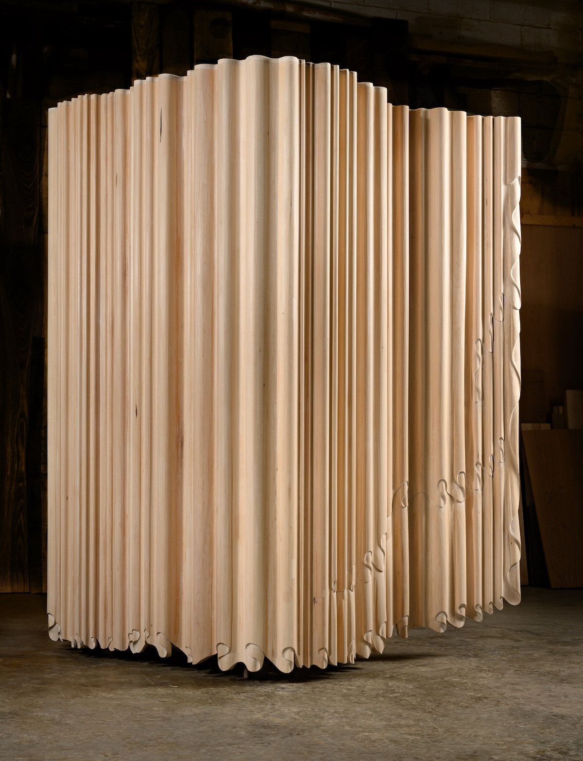back view of Linenfold Armoire (Perpendicular Style) by artist Christopher Kurtz