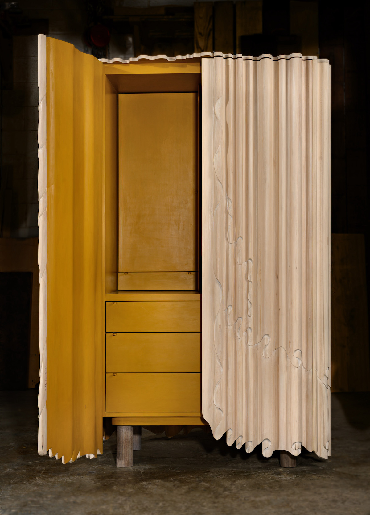 Linenfold Armoire by artist Christopher Kurtz, door open