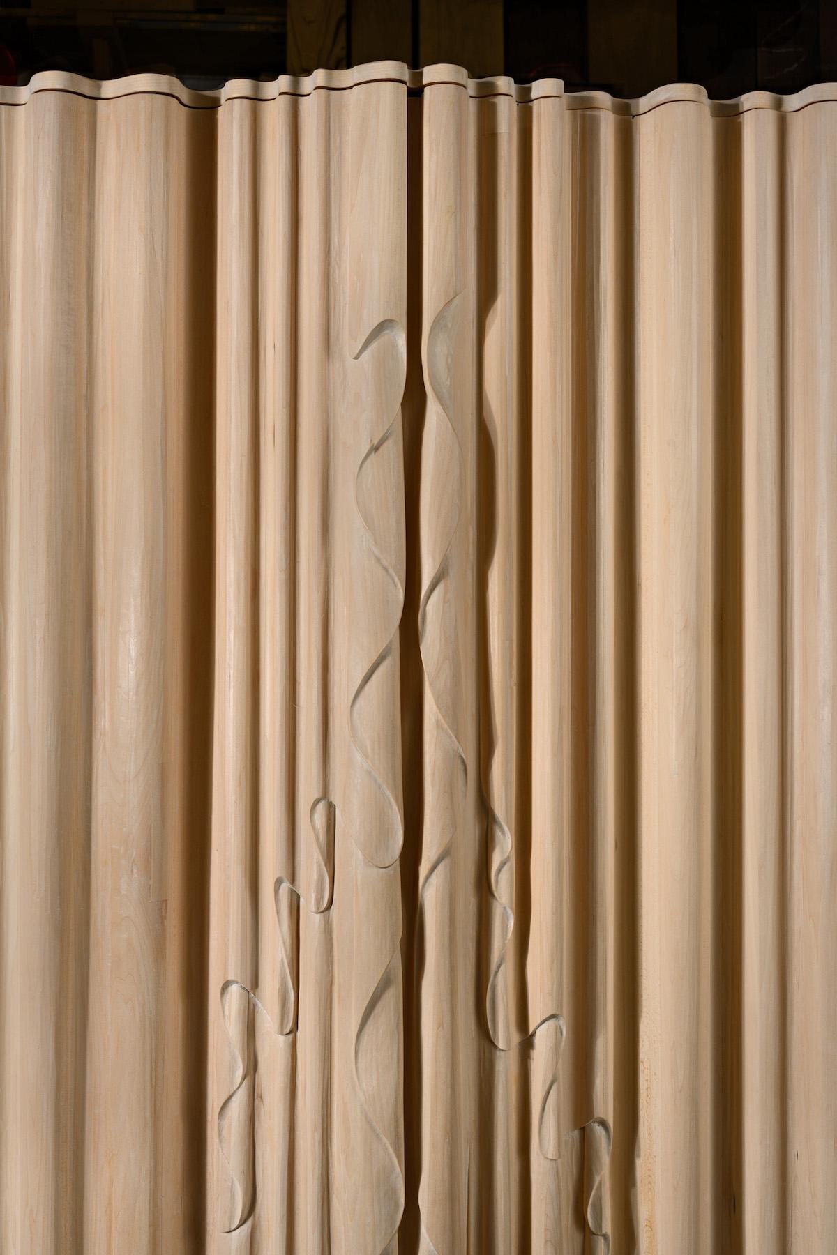 surface detail Linenfold Armoire (Perpendicular Style) by artist Christopher Kurtz