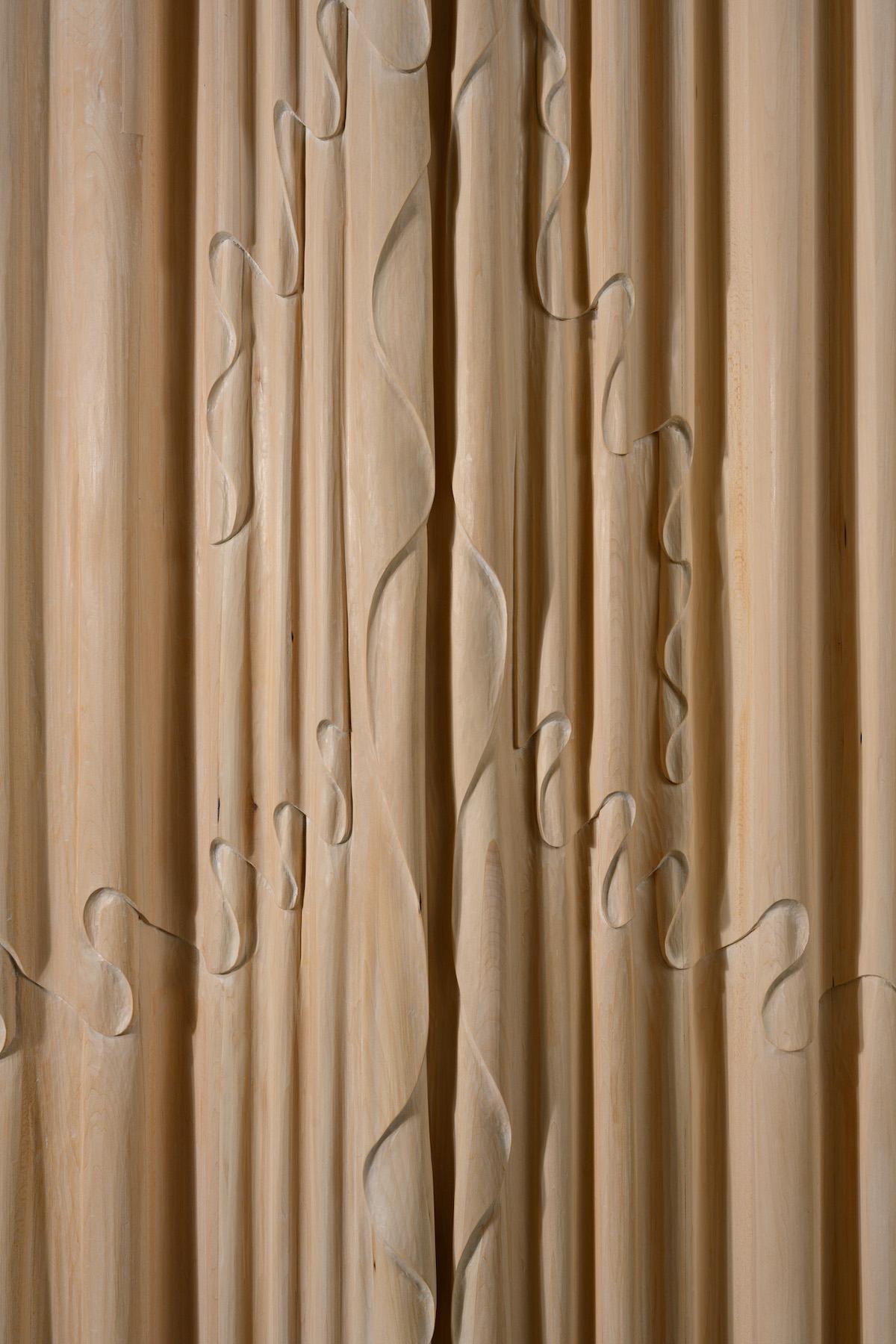 Surface detail of Linenfold Armoire by artist Christopher Kurtz