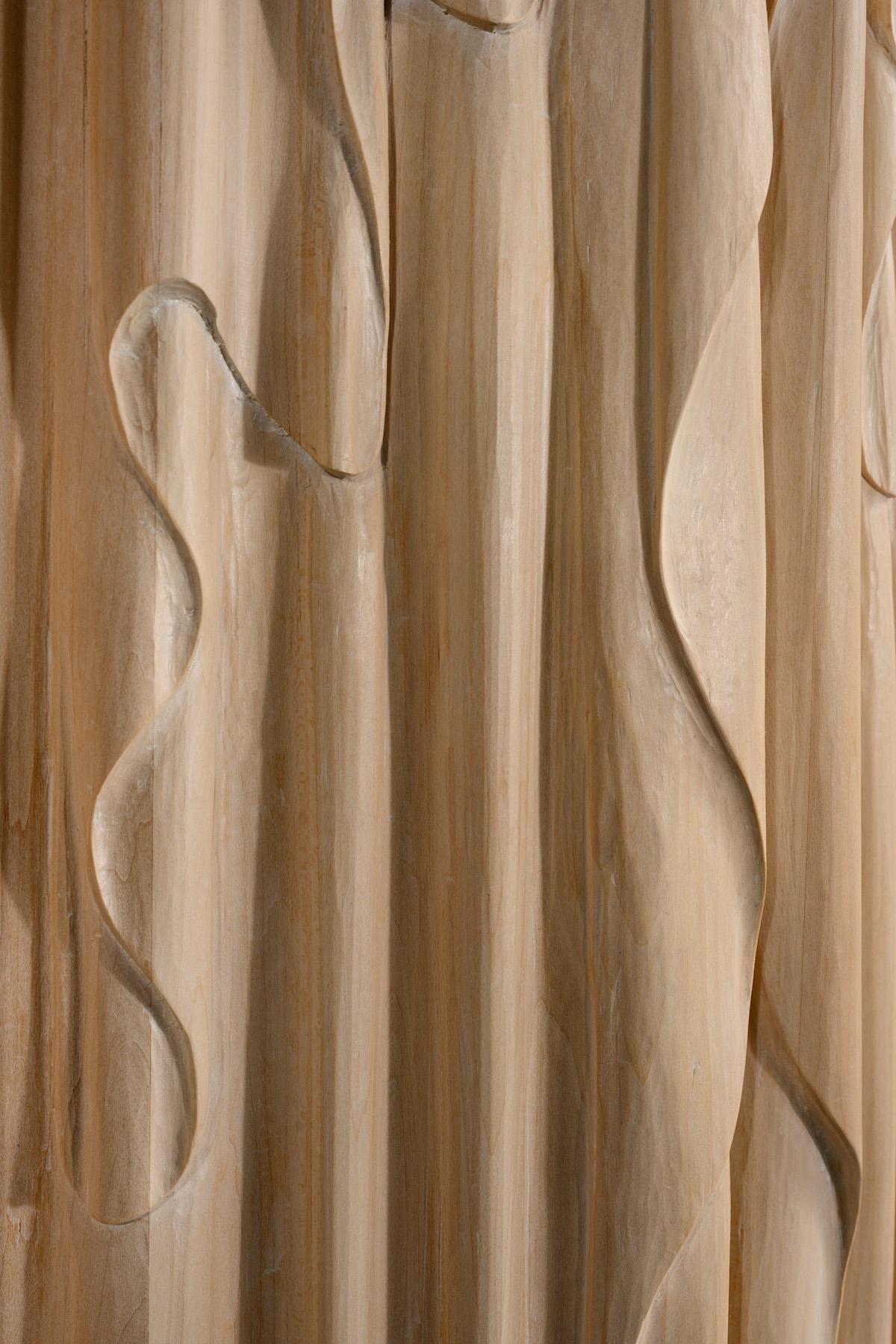 door detail of Linenfold Armoire (Perpendicular Style) by artist Christopher Kurtz