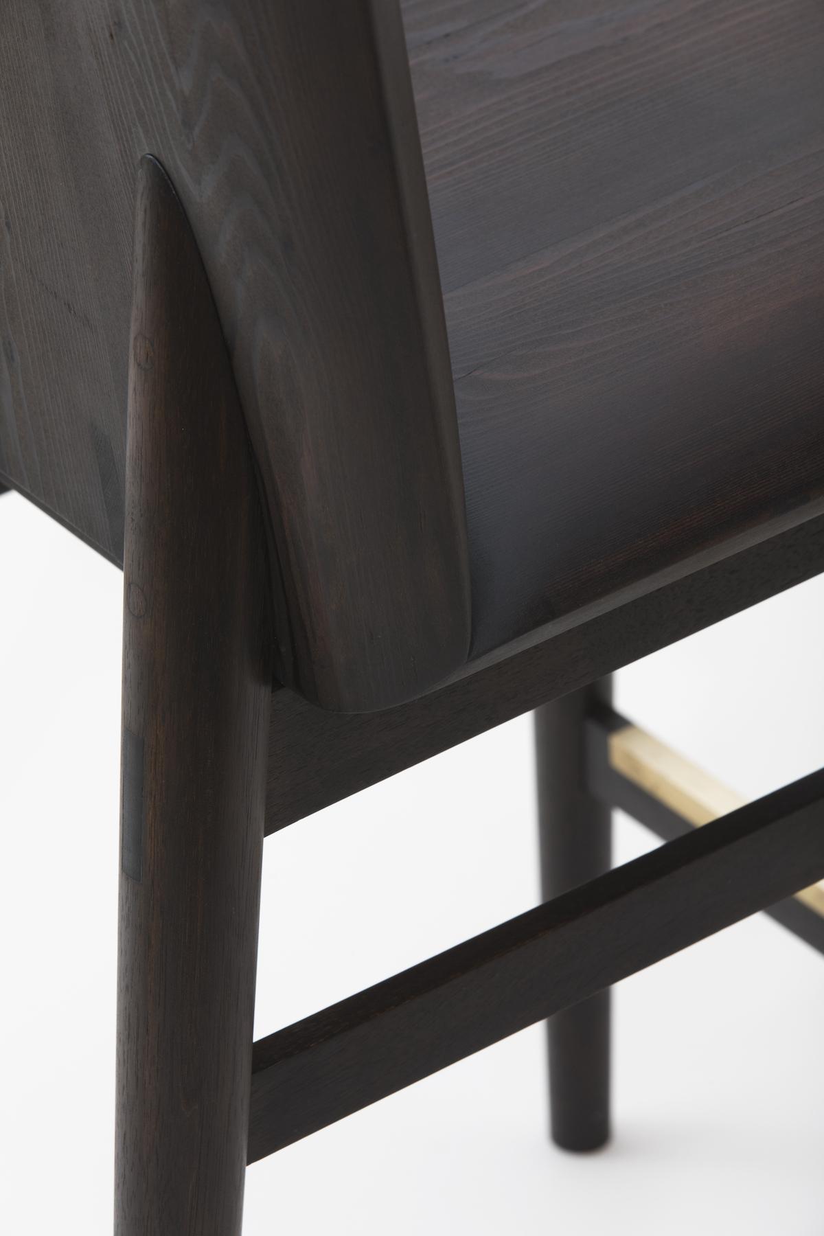 seat detail of the Redwood Bar/Counter Stool by artist Christopher Kurtz