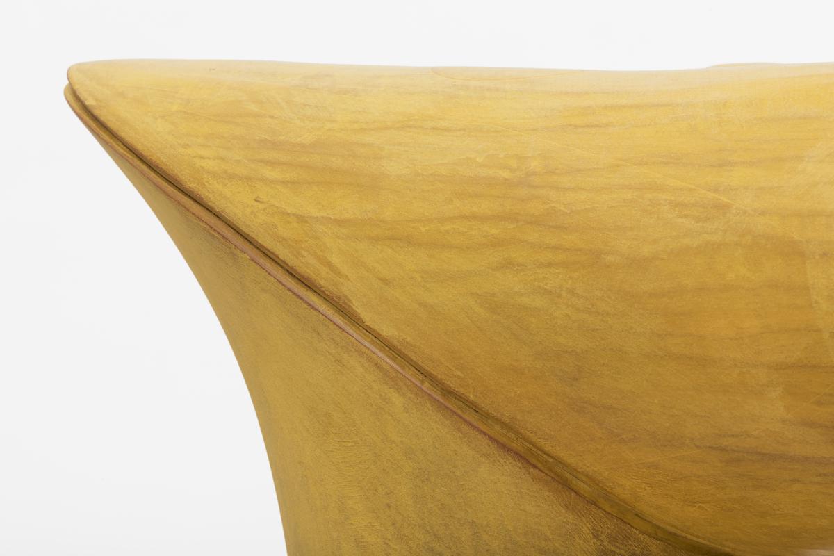 joint detail of Duck Bill Miter, a yellow sculptural piece by artist Christopher Kurtz