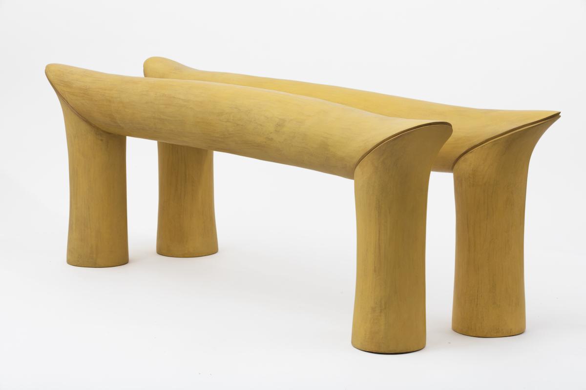 Duck Bill Miter (Double Crest Rail) is a yellow sculptural piece by artist Christopher Kurtz