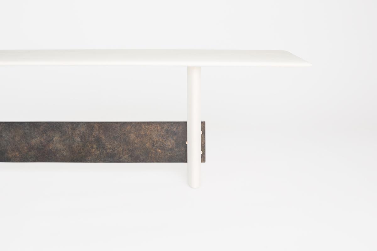 leg detail of a bleached maple bench by artist Christopher Kurtz