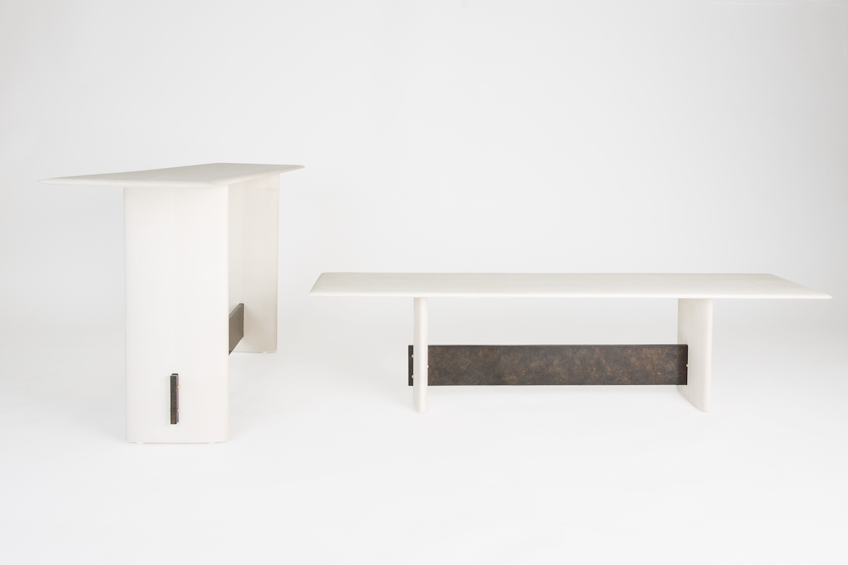 front and side views of bleached maple bench and console table by artist Christopher Kurtz