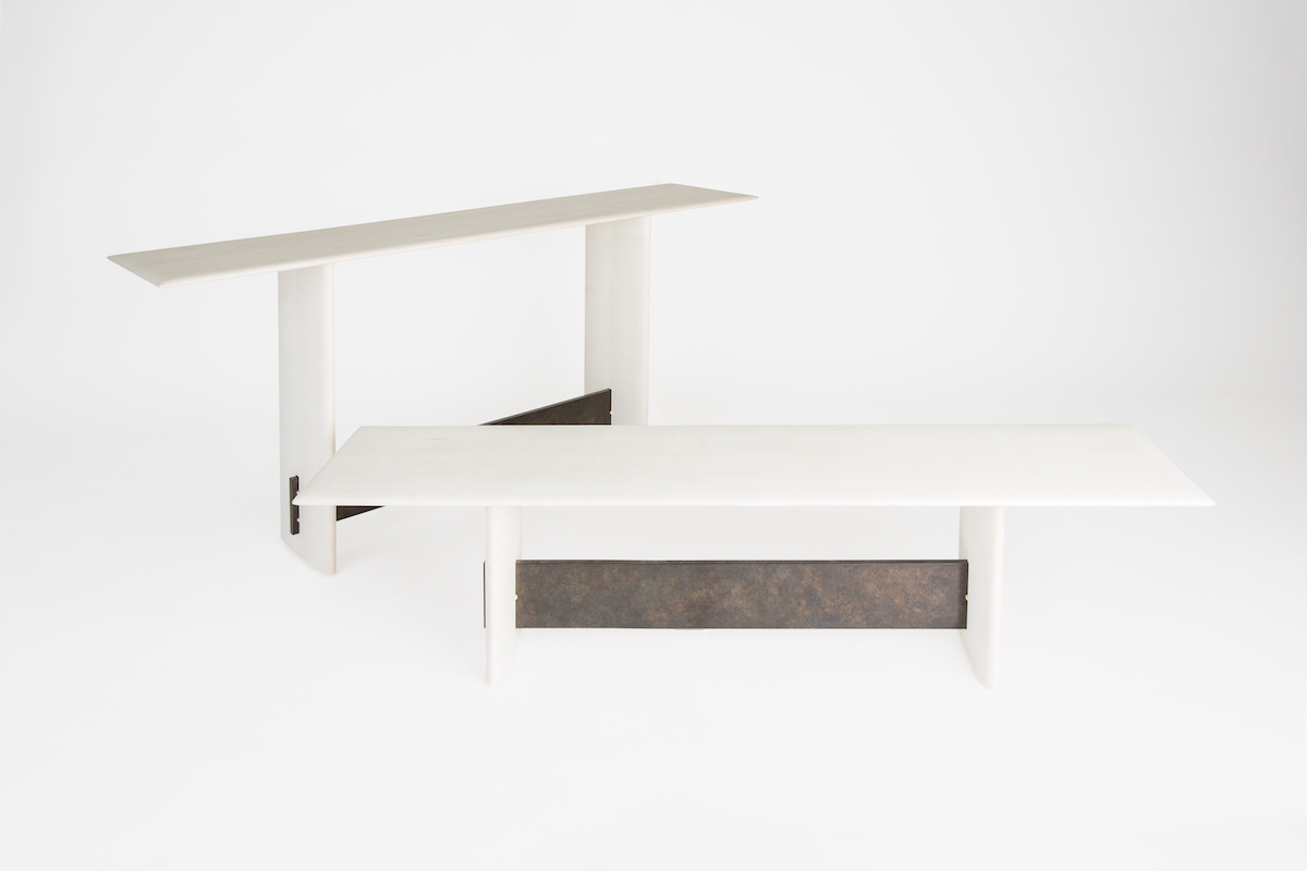 bleached maple bench and console table by artist Christopher Kurtz