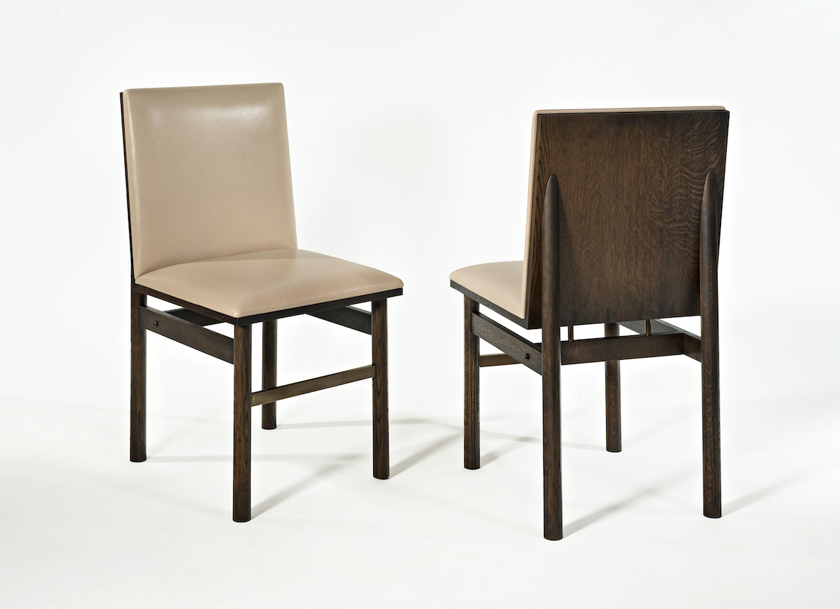 back and front views of the 68th Street Chair by artist Christopher Kurtz