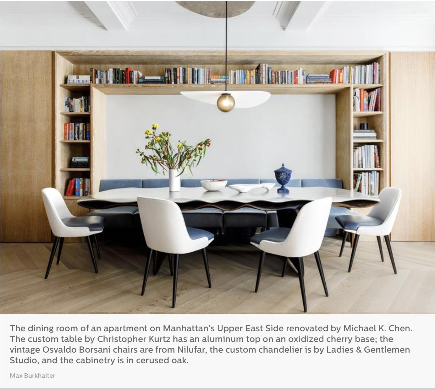 Christopher Kurtz's custom dining table featured in Elle Decor