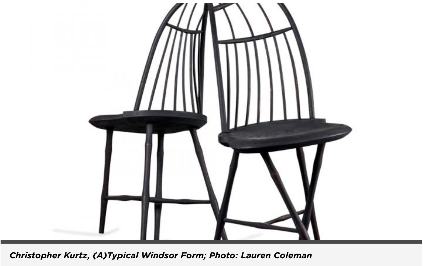 Christopher Kurtz Windsor chair sculptures featured in American Craft