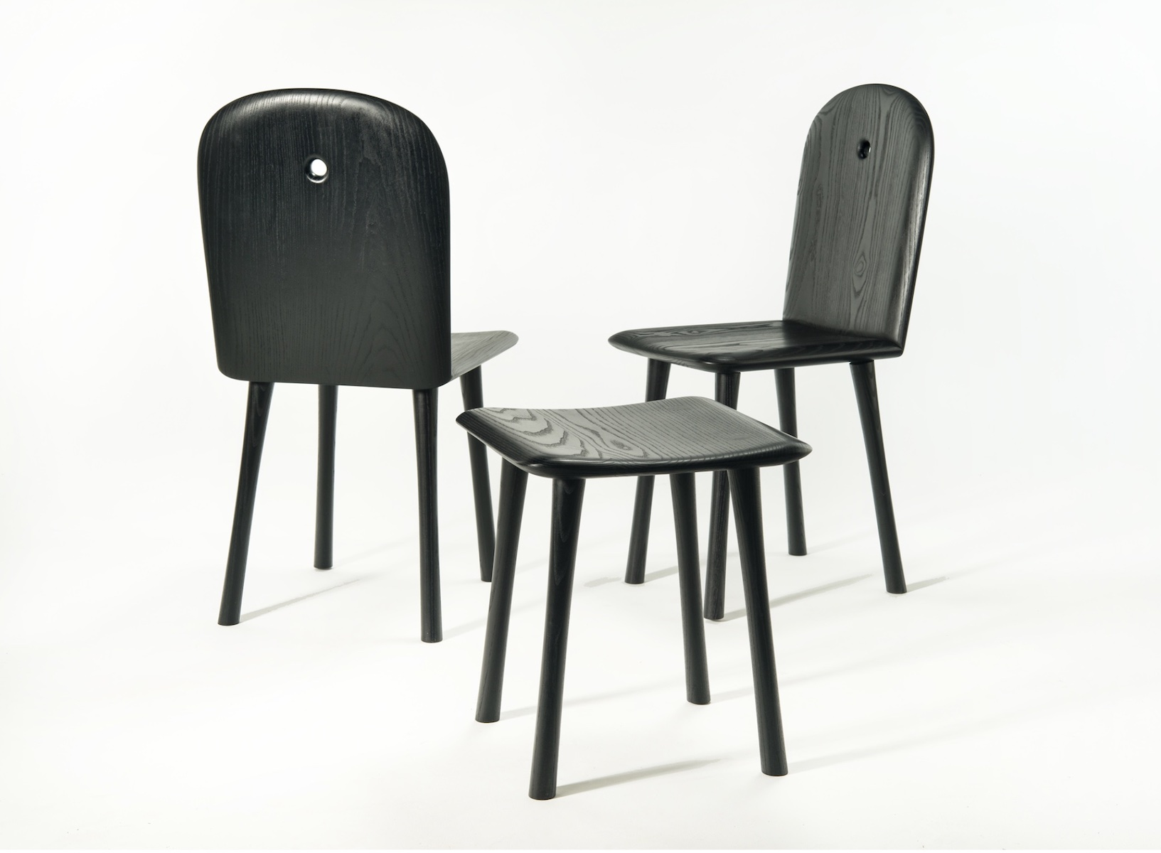 Conrad Chairs and Stool by artist Christopher Kurtz