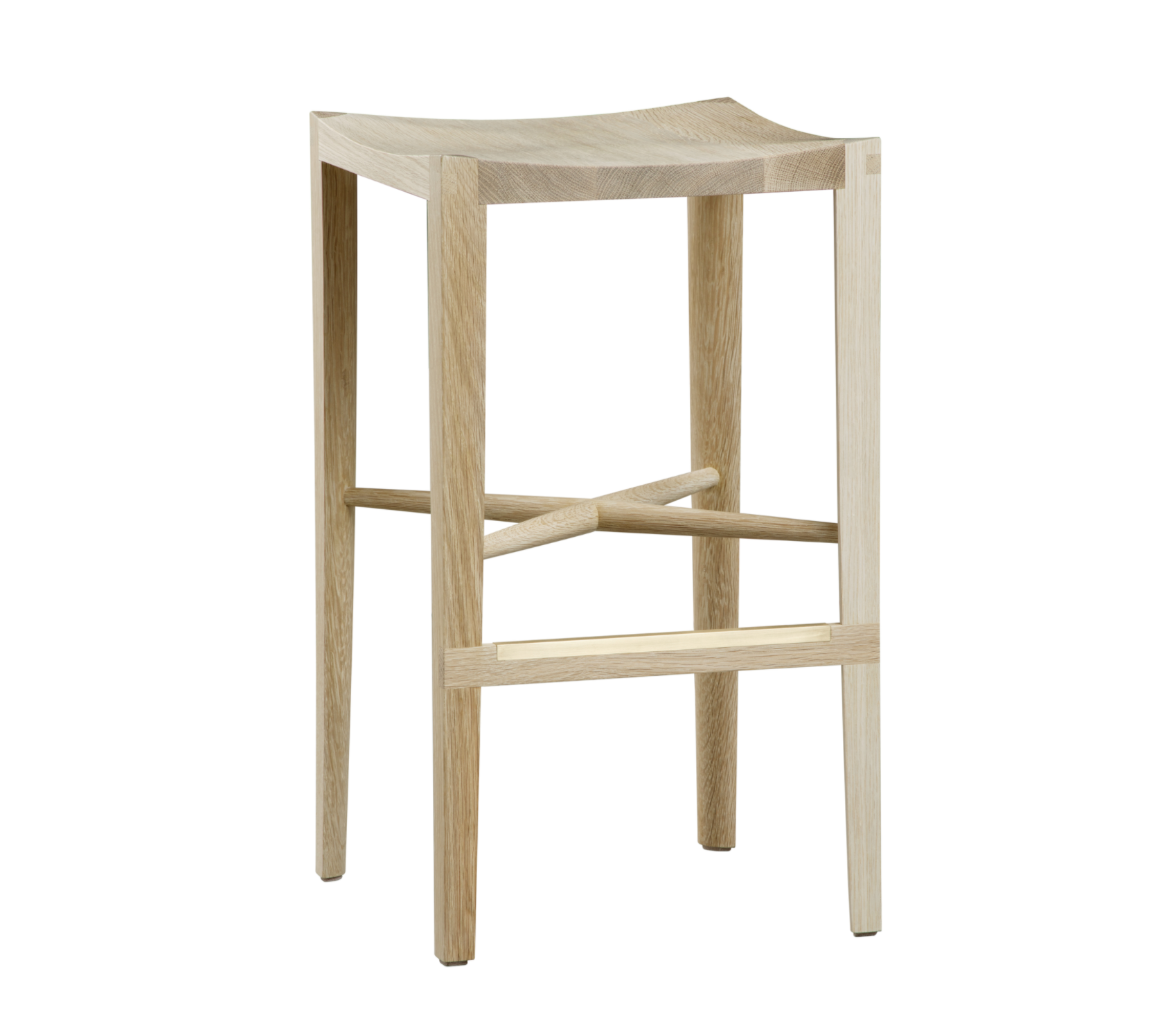 angled view of a Backless Quarter Round Bar Stool by artist Christopher Kurtz