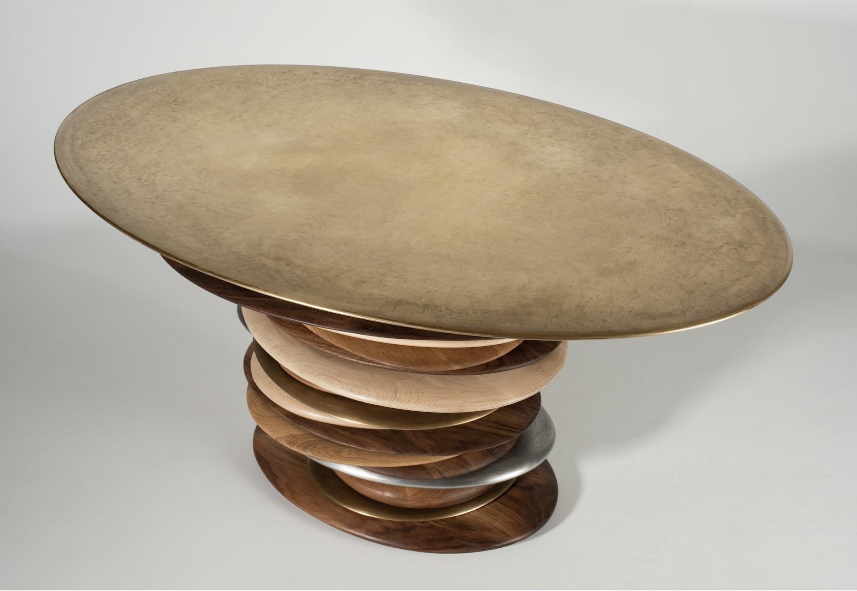 Skipping Stone Table Bronze Top by artist Christopher Kurtz