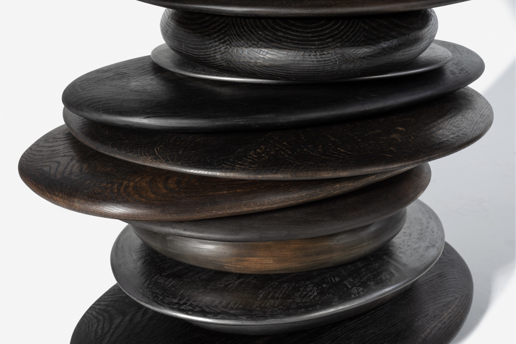 detail of the Skipping Stone Console by artist Christopher Kurtz.