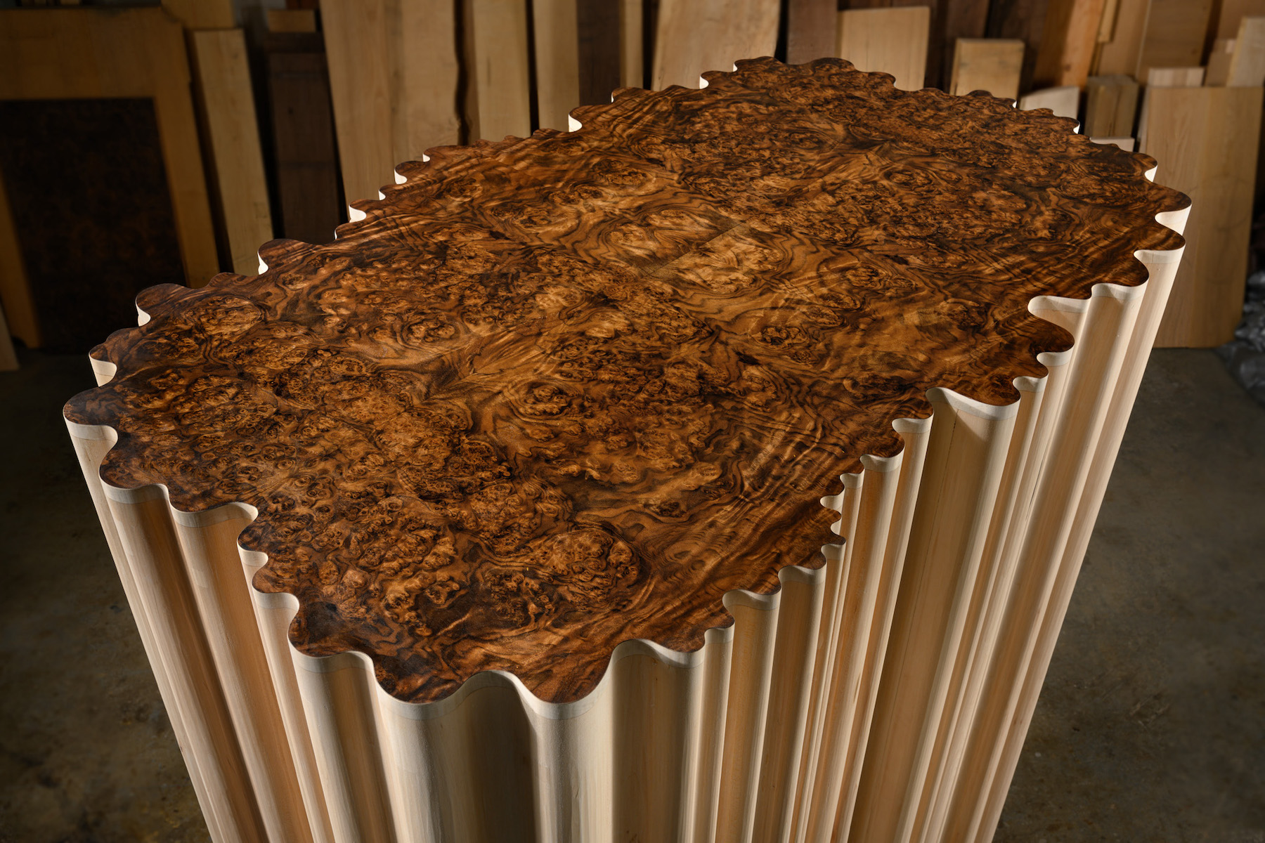 top detail of Linenfold Armoire (Perpendicular Style) by artist Christopher Kurtz