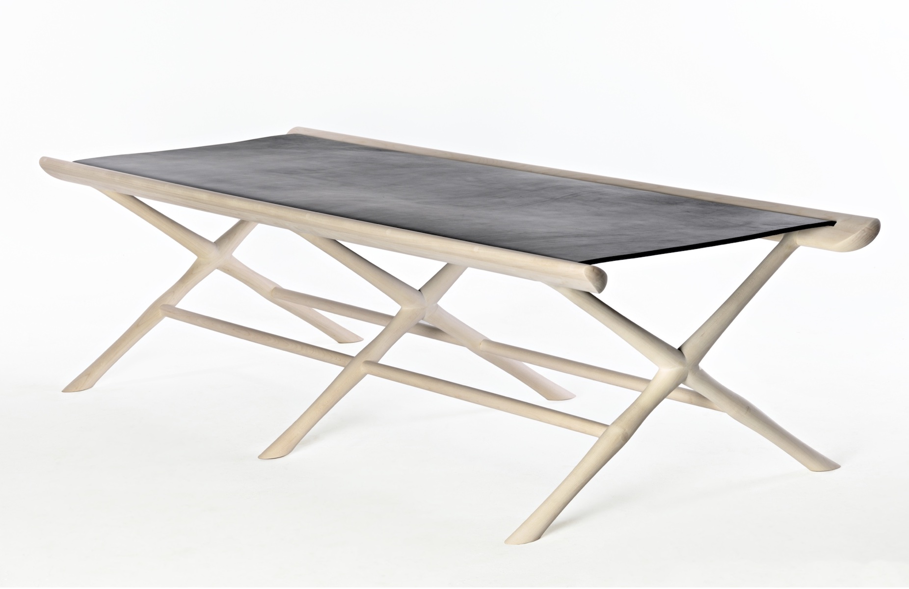 angled view of the Pallet Daybed by artist Christopher Kurtz