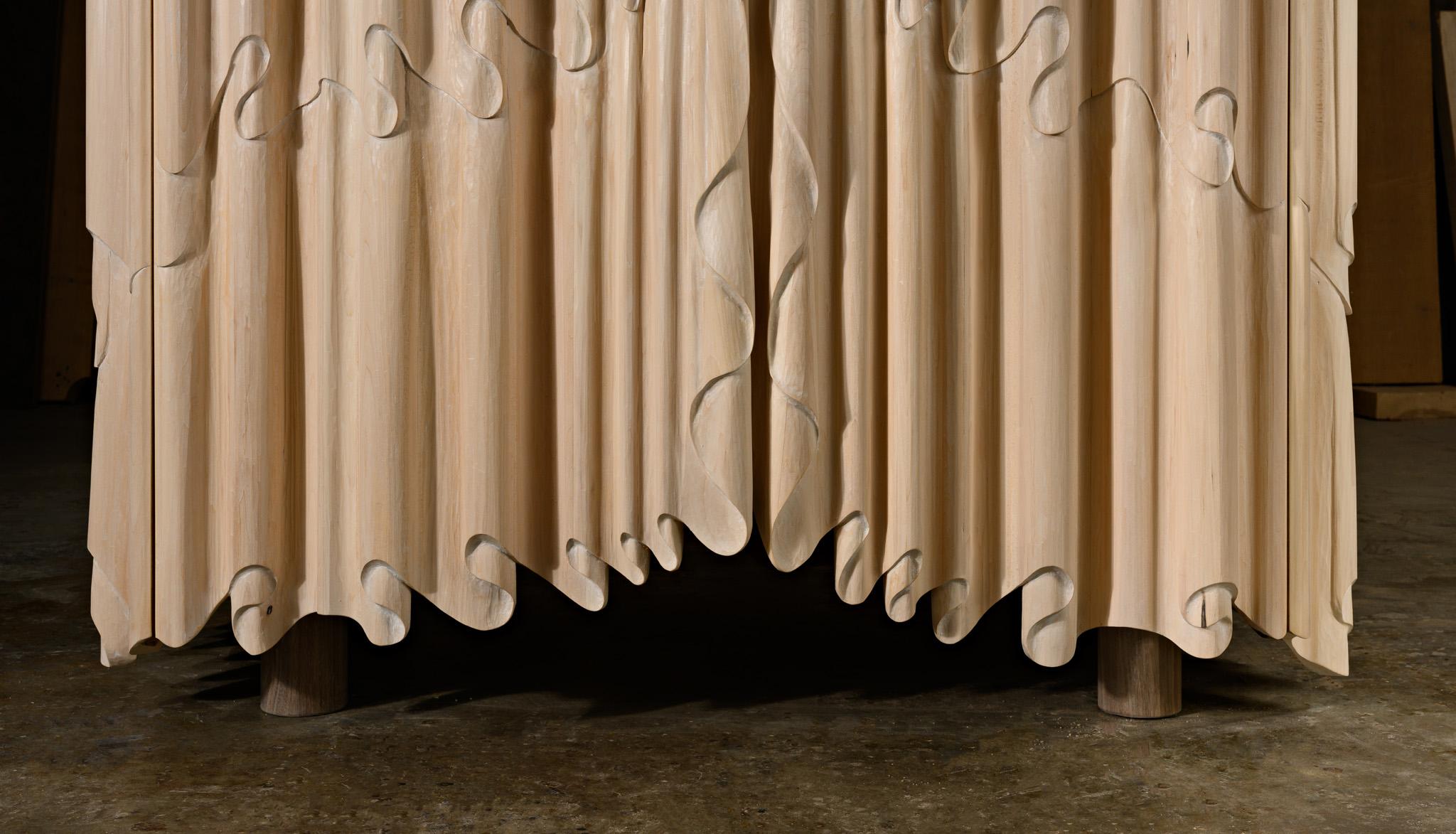 bottom edge detail of Linenfold Armoire (Perpendicular Style) by artist Christopher Kurtz