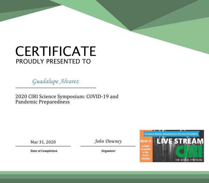 2020 CIRI Science Symposium Certificate
