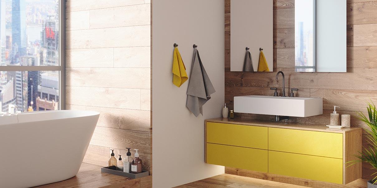 Badezimmer mit Schrank unter dem Waschbecken bei schrankwerks Wohnwelten