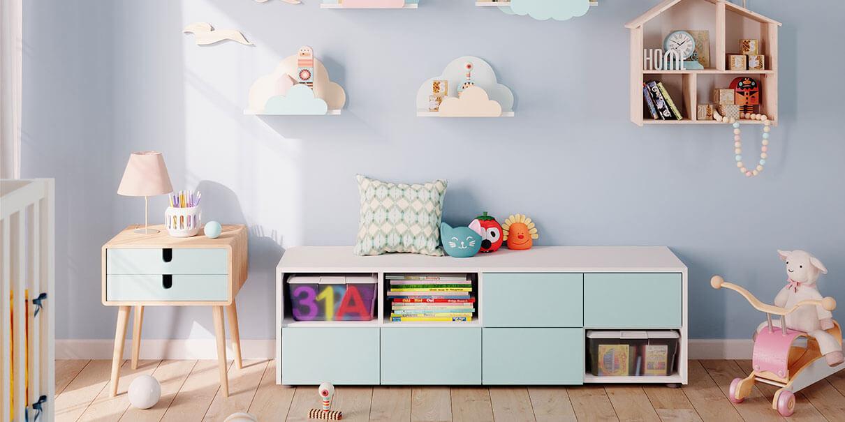 Kinderzimmer mit Spielzeugregal bei schrankwerks Wohnwelten