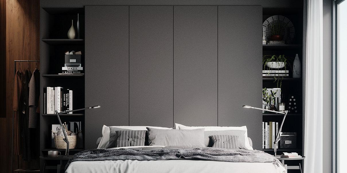 Schlafzimmer in grau bei schrankwerks Wohnwelten