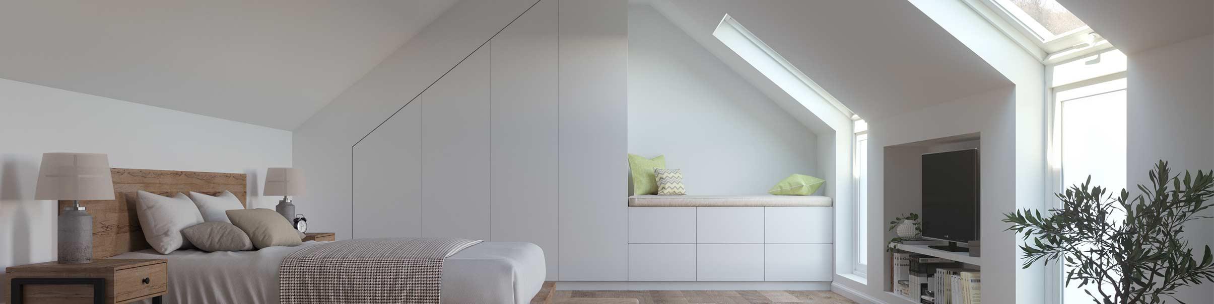 Dachboden mit Dachschrägenschrank bei schrankwerks Wohnwelten