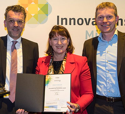 Stefan und Klaus Dickmänken bei der Preisverleihung Innovationspreis Münsterland