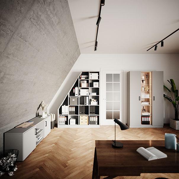Büro mit Aktenschrank bei schrankwerks Wohnwelten