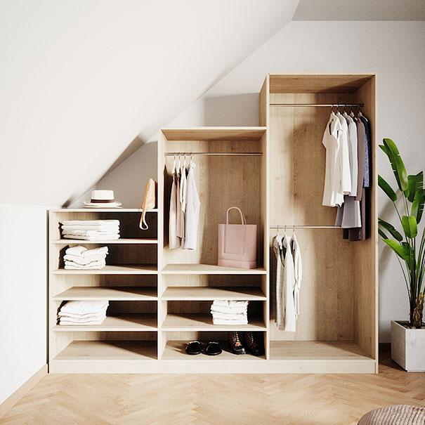 Stufenregal als Schrank  im Schlafzimmer