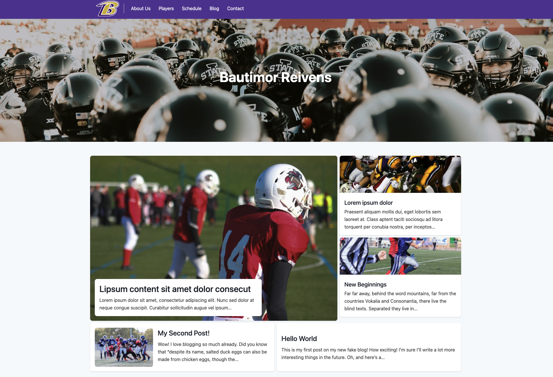 Lombardi starter home page