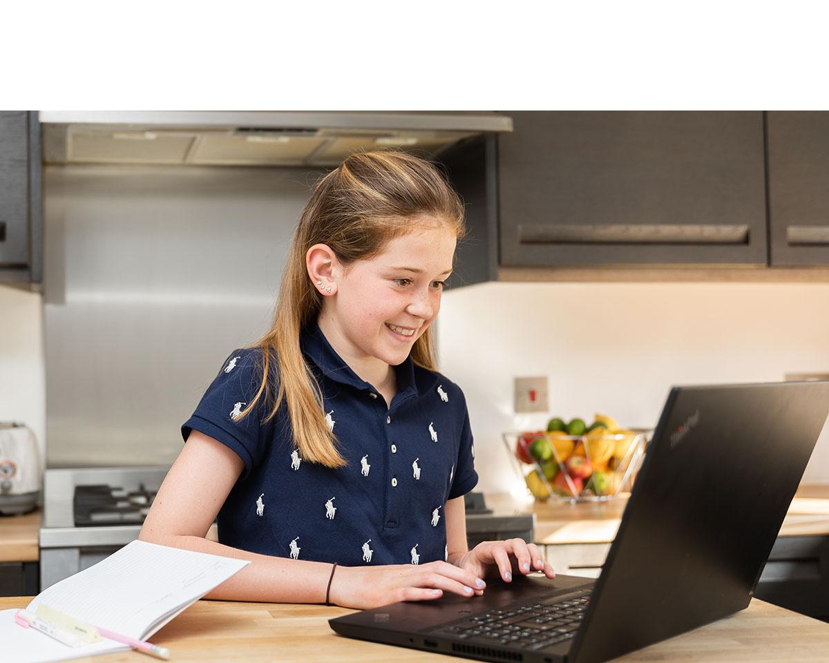 Girl taking online lesson