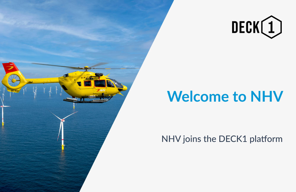 NHV helicopter flying above offshore windfarm