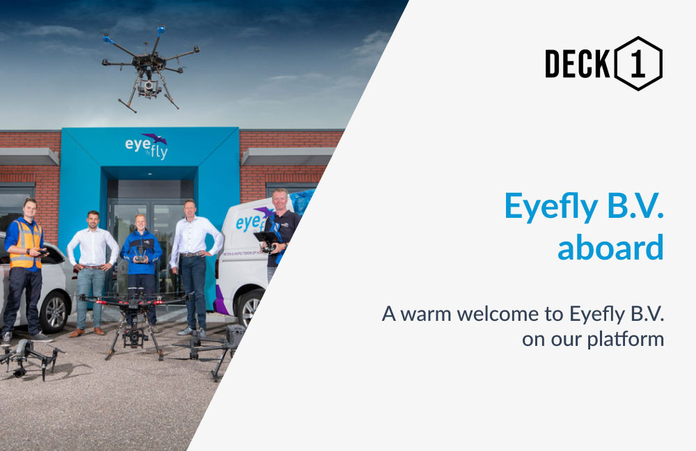 Eyefly team presenting their fleet of drones in front of their headquarters