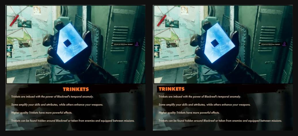 Trinkets deathloop UX alignement of titles